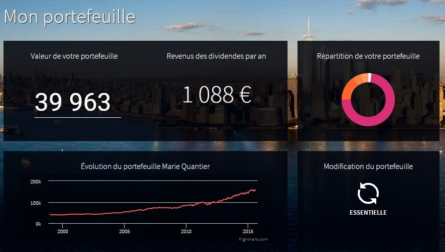 Simulation de portefeuille sur la plateforme Marie Quantier